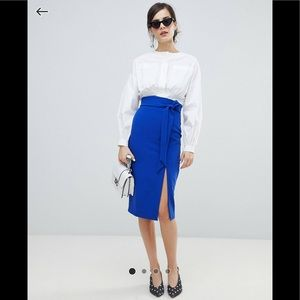 Oasis Paperbag Waist Split Front Pencil Skirt